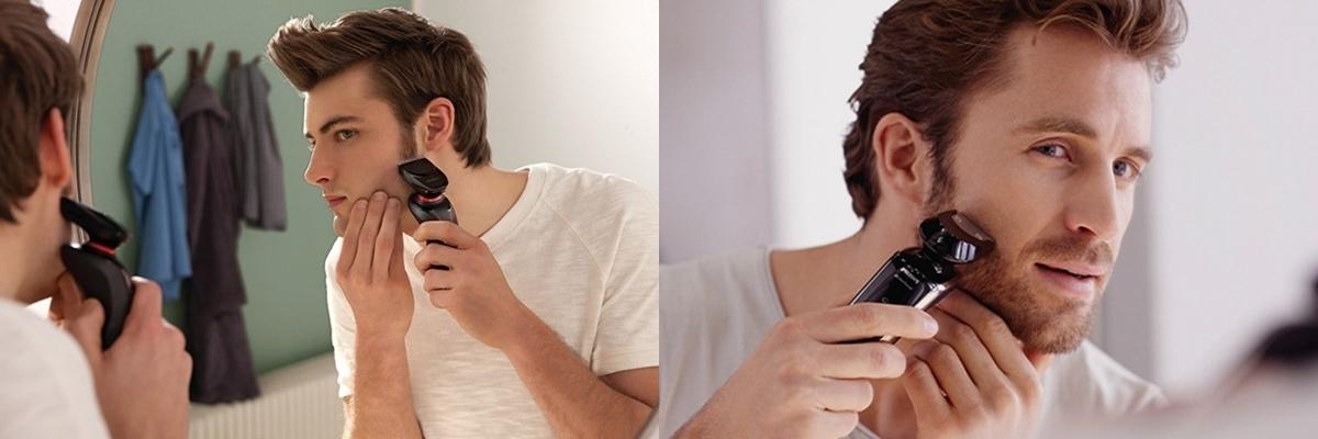 мужчины бреются электробритвами
